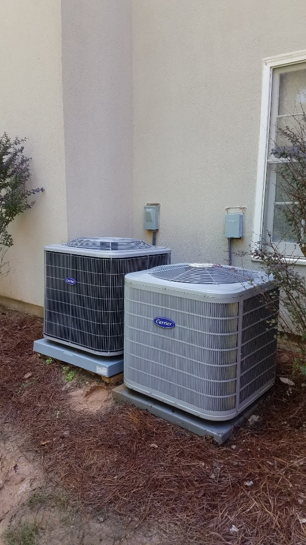 Sandy Springs, GA - Annual cooling service on 2 Carrier air conditioners.