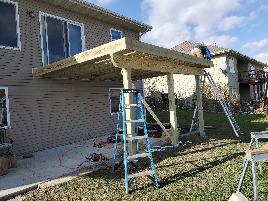 Grimes, IA - Deck frame done and all the hardware installed