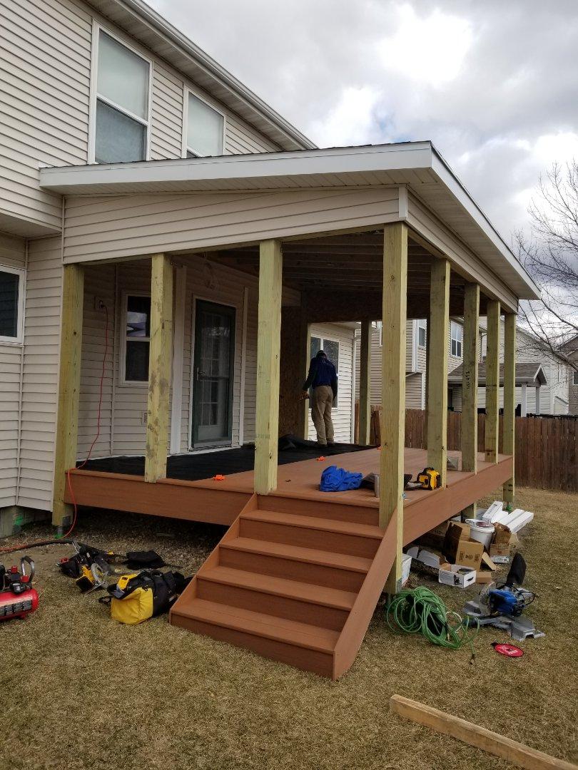 Urbandale, IA - Azek decking being installed in Urbandale Iowa