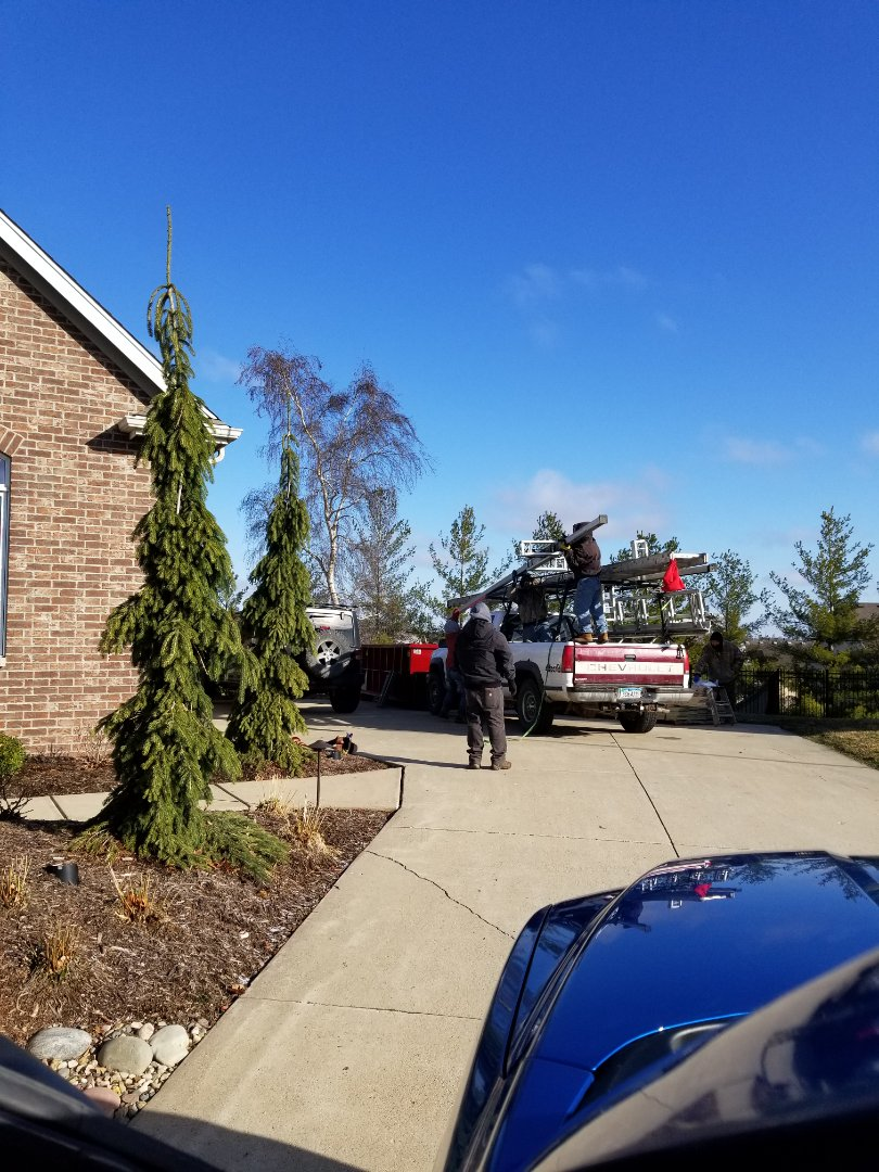 Urbandale, IA - Getting equipment ready for Hardie Plank siding g install in Urbandale.