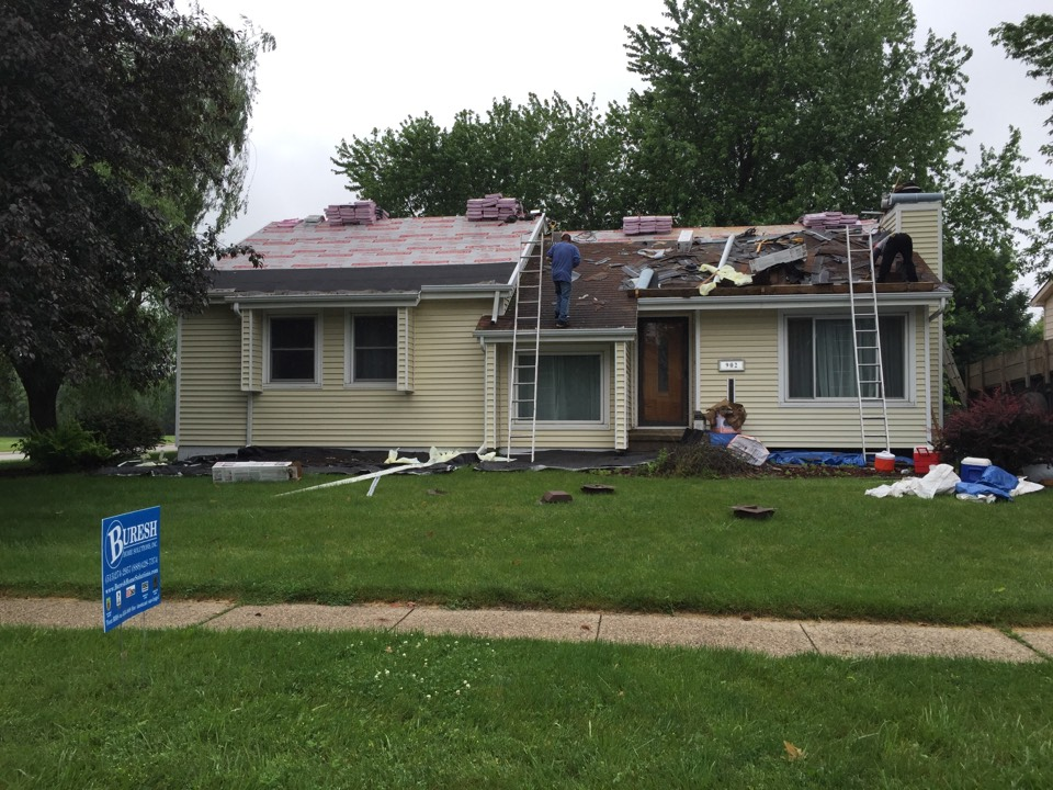 Ankeny, IA - Installing new Owens Corning Duration asphalt shingles on this home in Ankeny.  New deck and Aluminum Louvered Roof to be coming as well