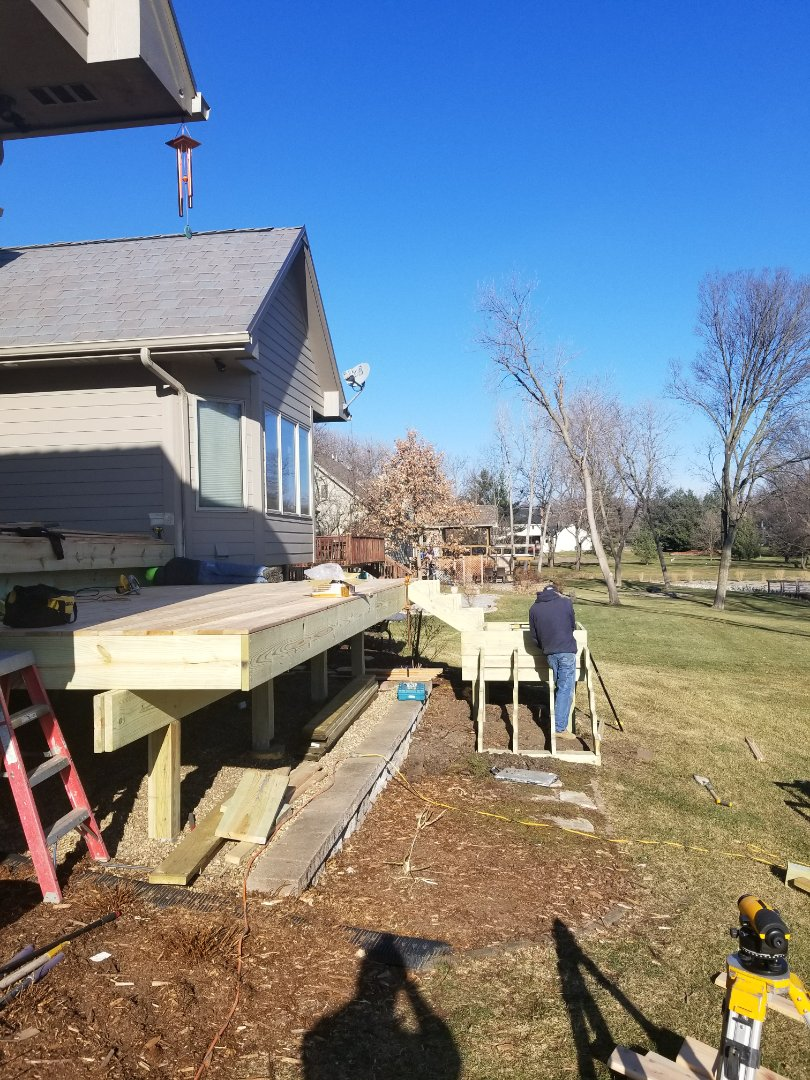 West Des Moines, IA - Working on Cedar deck replacement in West Des Moines