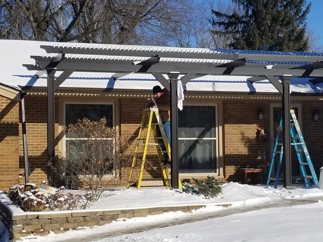 Clive, IA - Remote controlled patio cover almost done