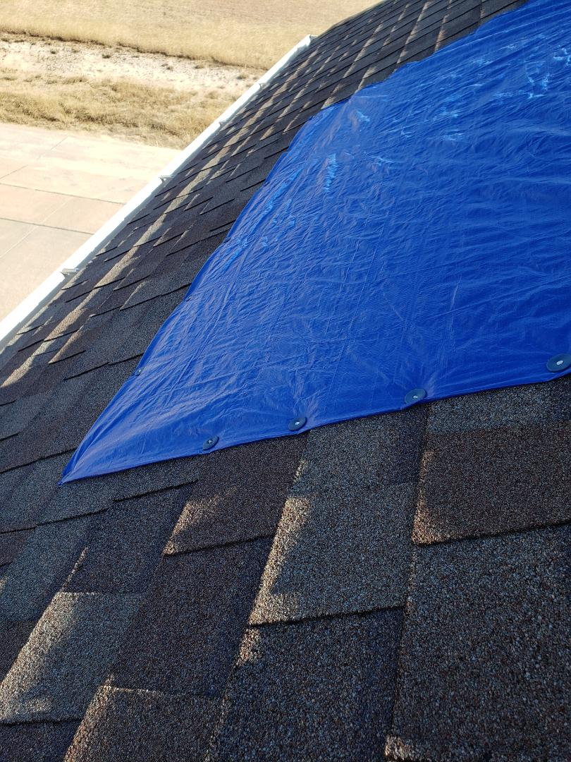 Frisco, TX - Leaks due to hail storms on a steep roof in Frisco. Emergency tarp. Replacing roof today with Owen's Corning true definition. 30 year shingle.
