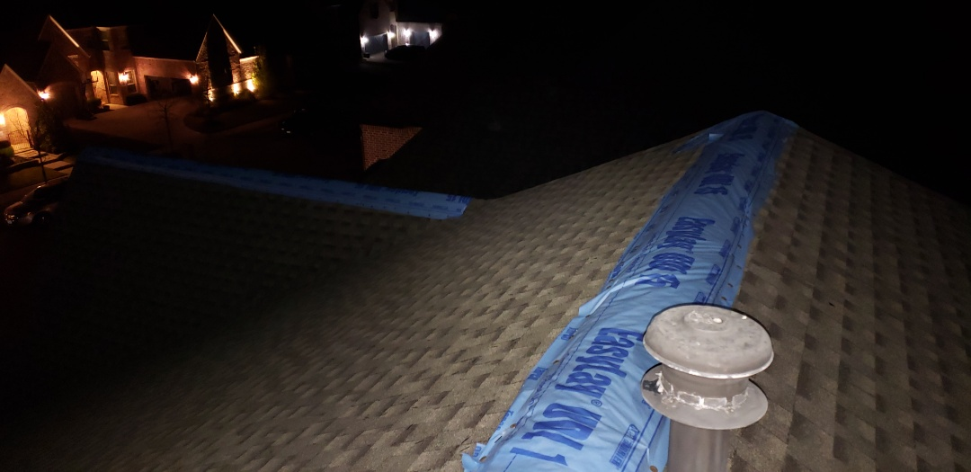 Frisco, TX - Emergency night time patching for our customer who had multiple leaks thru their home. We are replacing their roof AND handling all of their internal damage.
