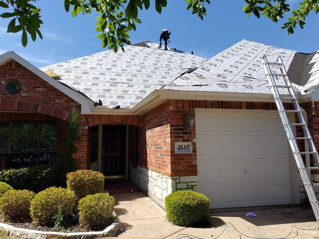 Mesquite, TX - We are not just replacing, but we are upgrading our customer's roof. Originally he had 3-tab / 25 year shingles, plastic vents and metal in his valleys. We've  upgraded him to an architectural 30-year shingle, all metal vents, and ice and water guard in his valleys. ALL AT NO EXTRA CHARGE!