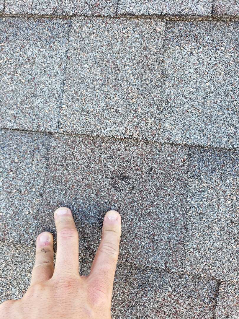 Plano, TX - Still many homes with hail damage from this past years storms. Gaf weathered wood. 30 yr shingles. Damage to siding and fence as well.