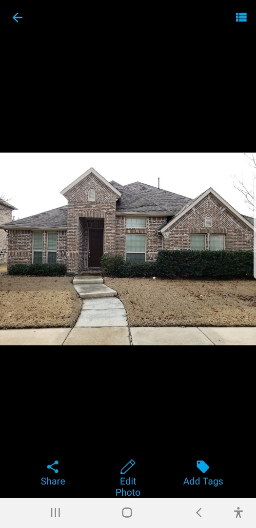 Frisco, TX - New roof. Hail and wind damage. Owen's corning. Sherwin William's. Roof replacement. Fence stain. Window screens. Gutter replacement.