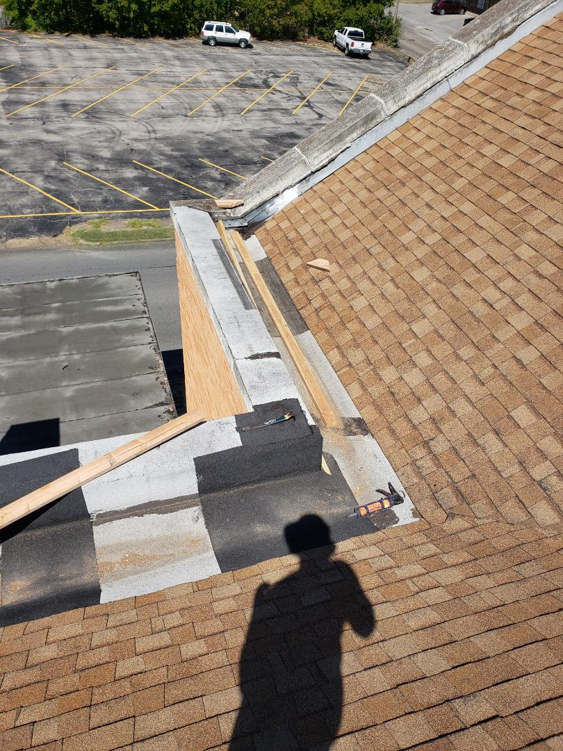 Greenville, TX - Church repairs. Roofing. Failing roof and parapet wall. Water damage. Framing. Rolled roofing.