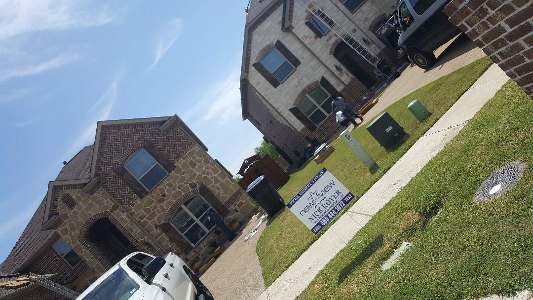 Frisco, TX - Having a great time out here restoring 2 roofs right next to each other. Setting the example for excellent and trustworthy roofing - New View Roofing and remodeling contractor - Veteran Owned