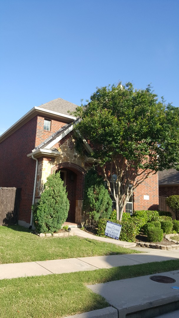 Plano, TX - New View Roofing - GAF 30 year shingle and gutters - Call or Text 469-444-1072 for your free inspection.