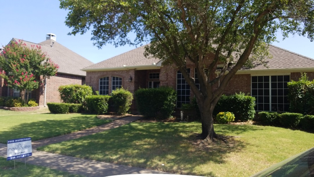 Carrollton, TX - 6/27/18 - Installed GAF Timberline HD weathered wood shingle - New view Roofing
