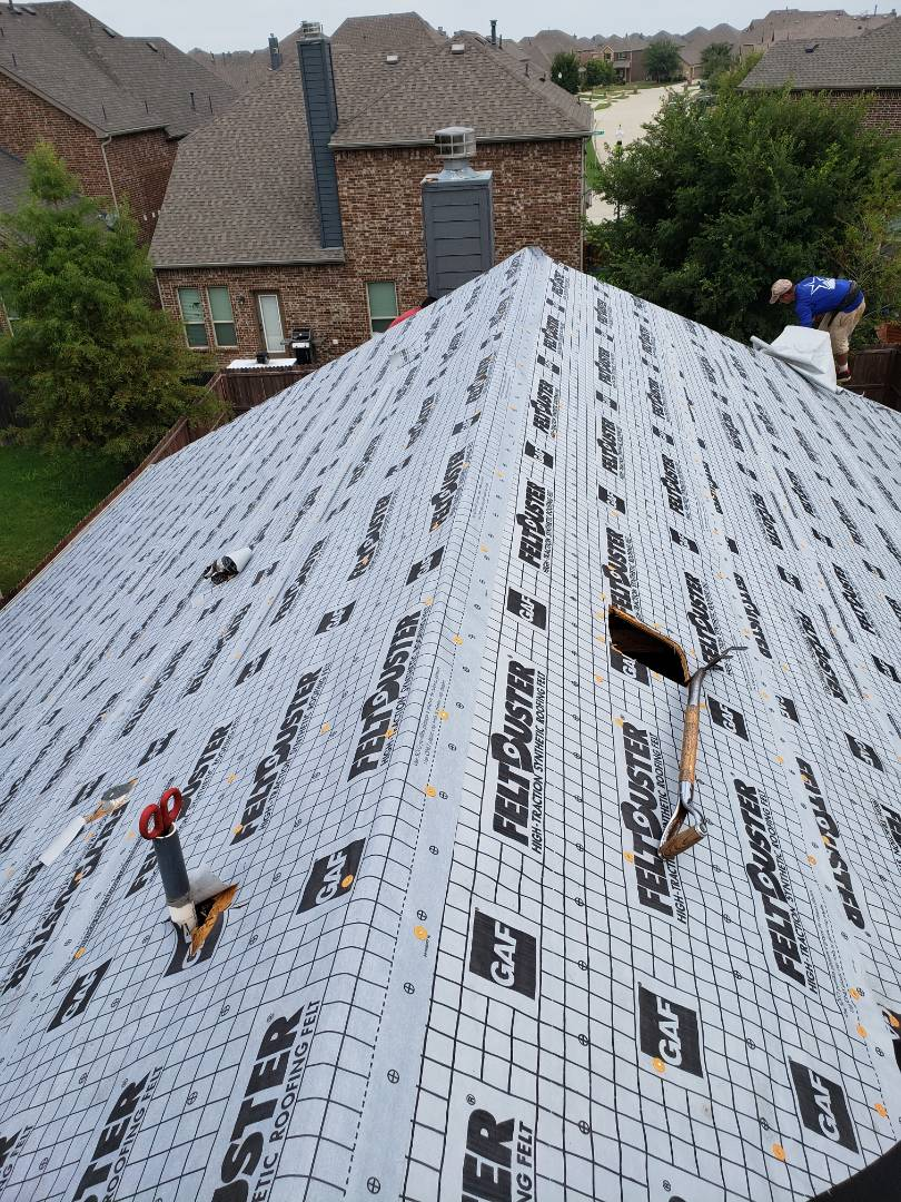 McKinney, TX - Working in McKinney on another roof from hail damage. GAF weathered wood shingles will be added soon.