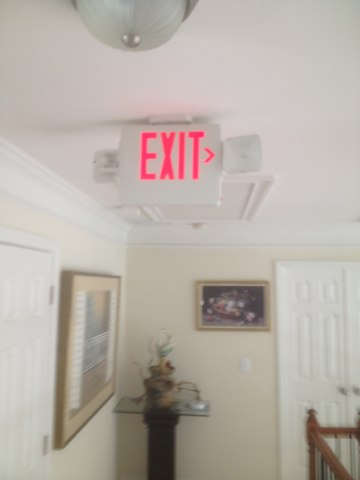 Installed exit lights through home and smoke det