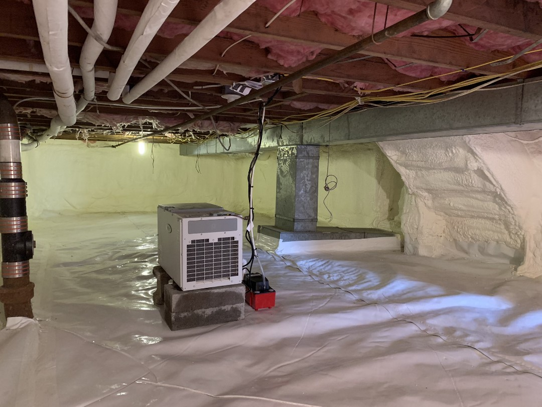 Hartsdale, NY - Crawlspace Encapsulation, Closed Cell Spray Foam, Aprilaire Dehumidification System