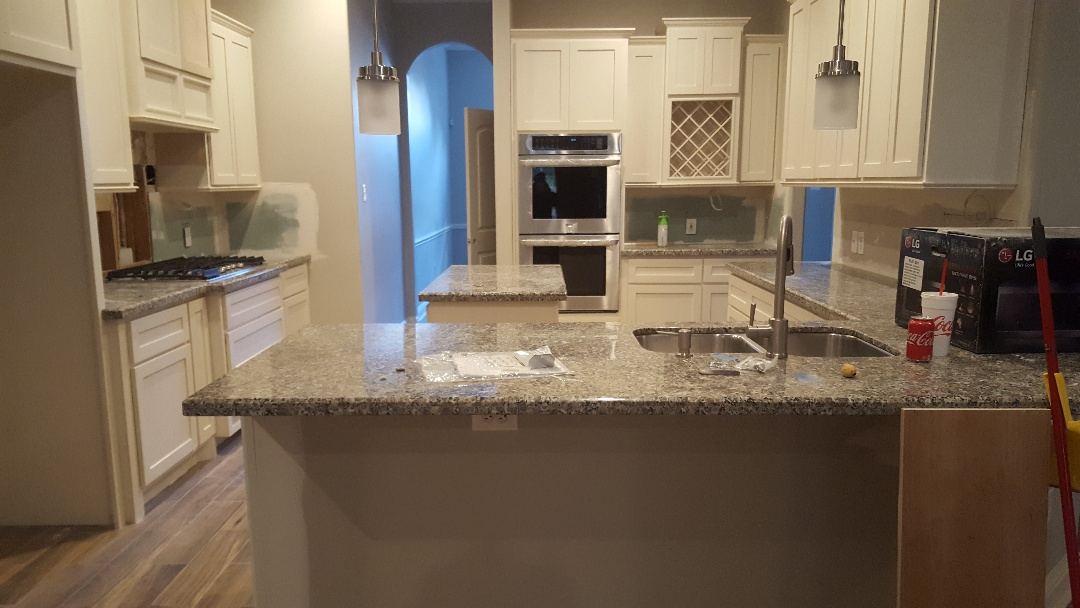 Houston, TX - Gorgeous counter top installed,  can't wait to see what the accent of the backsplash????