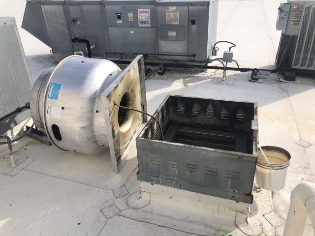 During the kitchen exhaust cleaning service our technician found two deficiencies: the exhaust fan needs hinge kits and a grease containment system to collect the grease properly.