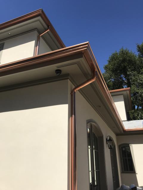 Campbell, CA - Installing custom copper gutters and downspouts on a new residential home in Campbell.