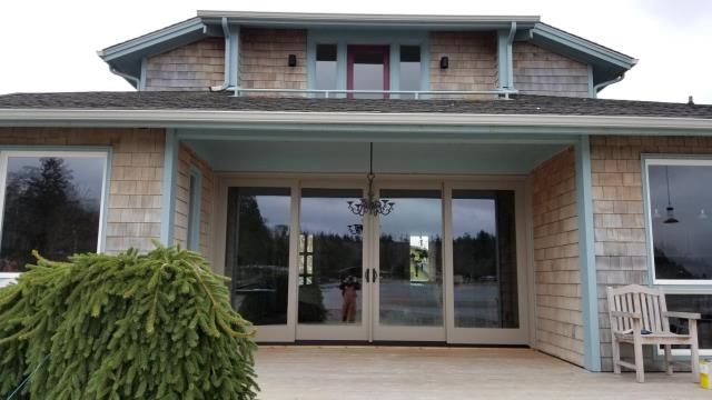 "Hansville, WA - This beautiful beach front home had our customer Andersen windows installed with an 8"" foot patio door."
