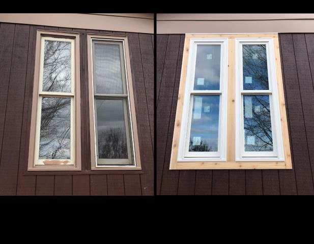 Gillette, WY - We replaced these old wood windows that had rotted cedar trim with new fibrex RbA double hung windows and a new cedar wrap in Gillette!