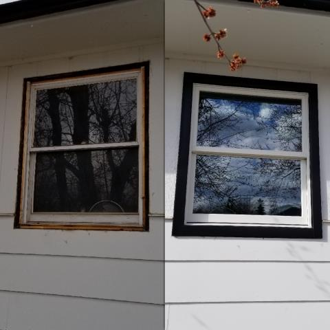 Rapid City, SD - Replaced this old drafty window with an insulated Renewal by Andersen double hung window in Rapid City!