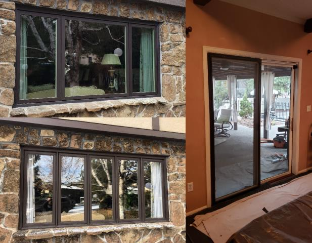 Billings, MT - Our professional installers replaced 2 wood brick mold windows and an old patio door on this beautiful home in Billings with Fibrex windows with brick mold casement and a new gliding door, all finished with Andersen trim.