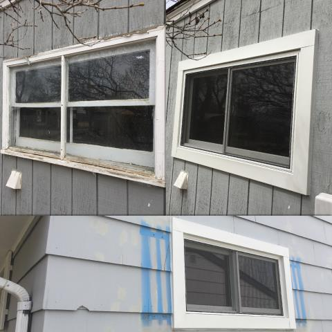 Mills, WY - Updated the look and functionality of two outdated  windows with Renewal by Andersen insulated Fibrex windows in Casper.