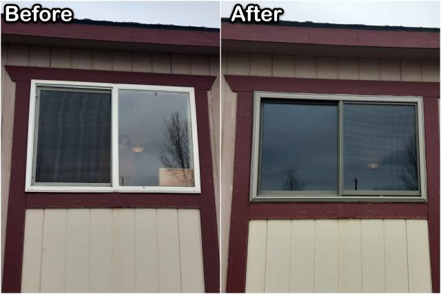 Riverton, WY - We replaced old vinyl windows with new Fibrex® windows for this customer in Riverton!