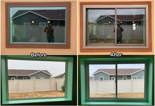 Casper, WY - This Casper homeowner replaced an older picture window with this new RbA Fibrex® gliding window!