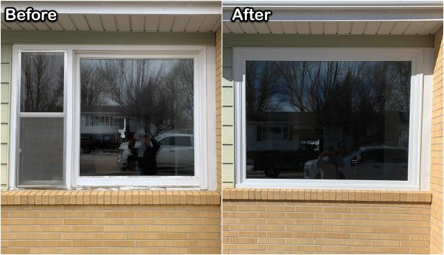 Casper, WY - We replaced this old combination window with a single Fibrex® picture window on this home in Casper.