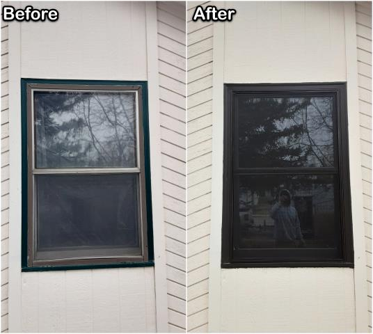 Gillette, WY - This homeowner in Gillette replaced old inefficient windows with new Fibrex® (in black inside & out!) Double-hung windows .