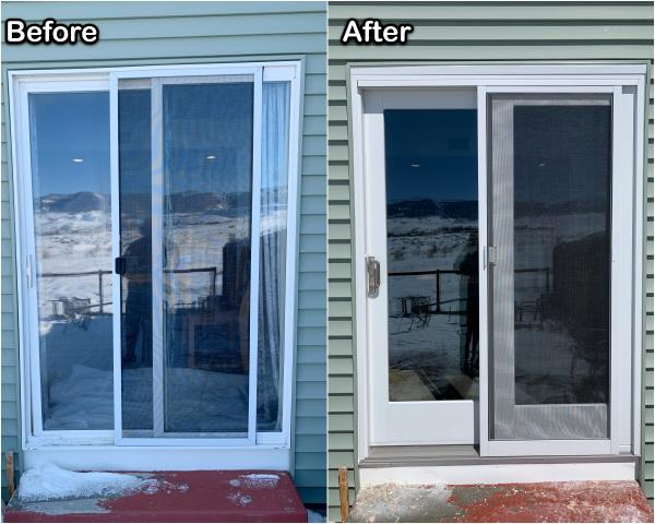 Casper, WY - This failing sliding patio door was replaced for this homeowner in Casper with a new RbA Sliding patio door!