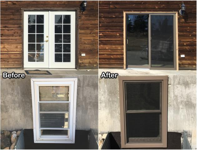 Wheatland, WY - We replaced this old French door and window with a new RbA gliding patio door and Fibrex® window on this home in Wheatland.