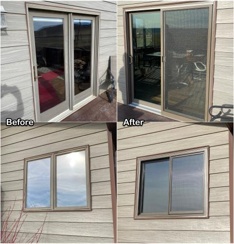 Great Falls, MT - This homeowner in Great Falls replaced old vinyl windows and an old French door with new RbA Fibrex® windows and a new gliding patio door!