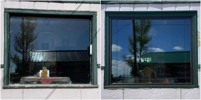 Rawlins, WY - These folks in Rawlins upgraded their old picture window to a new RbA Fibrex® picture window with a Modified Prairie grille pattern & forest green exterior.