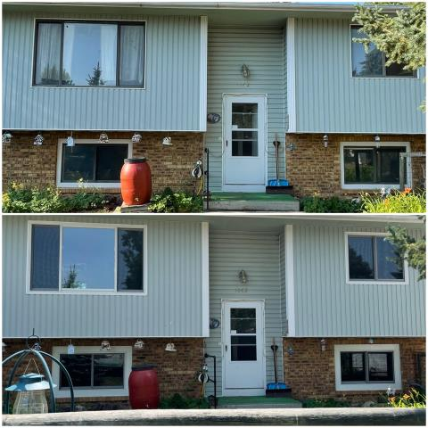 Sheridan, WY - We upgraded these old windows to our beautiful RbA Fibrex® gliding windows with a white exterior trim!