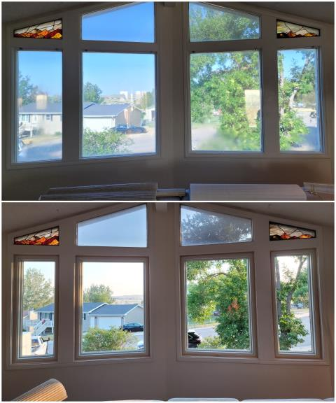 Gillette, WY - These folks in Gillette upgraded their old picture windows to our RbA Fibrex® picture windows with a beautiful thin pine trim!