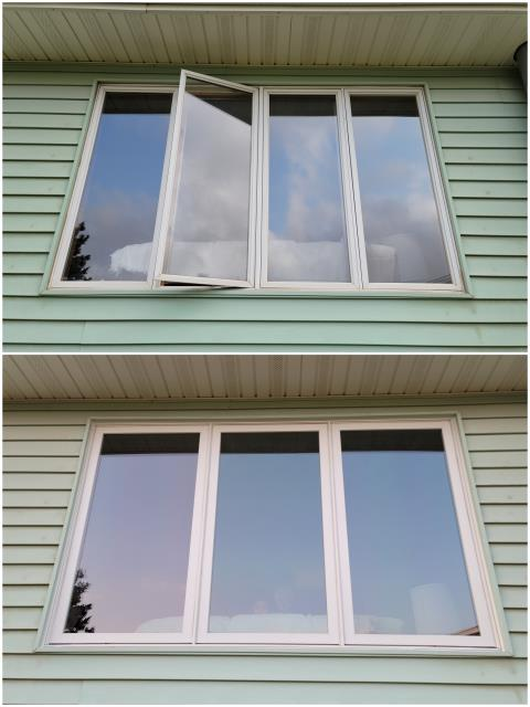 Gillette, WY - Beautiful install done in Gillette! We replaced these old casement windows and installed RbA Fibrex® picture windows with a white trim exterior.