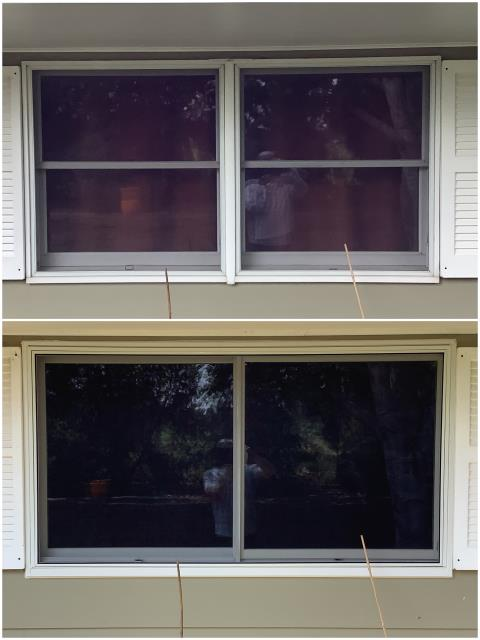 Sidney, NE - Stunning upgrade done in Sidney! We replaced these old double hung windows with a beautiful RbA Fibrex® Glider window!