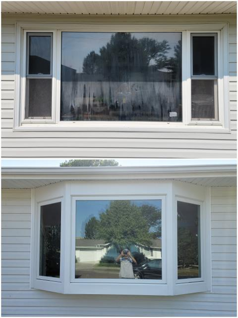 Sidney, NE - We upgraded this old window and installed this beautiful RbA Fibrex® Bay Window with white exterior trim!