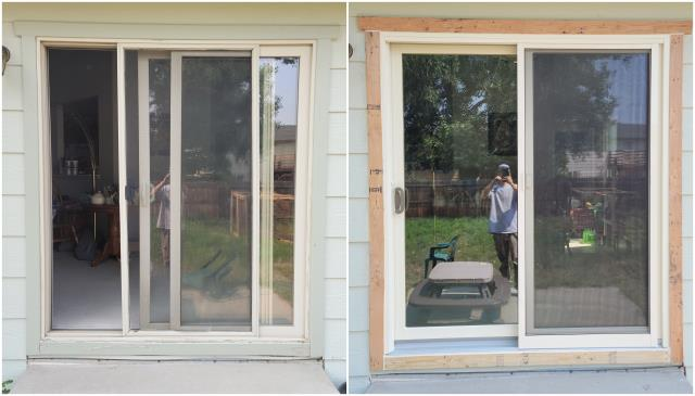 Cheyenne, WY - We took out this old sliding door and replaced it with this stunning Narroline® Gliding Patio Door with white exterior trim!