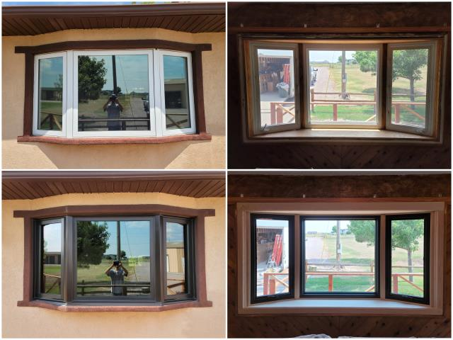 Newcastle, WY - Beautiful transformation done in Newcastle! We took out this old bay window and but in our RbA Fibrex® Bay Window with a dark bronze exterior trim and real pine interior trim!