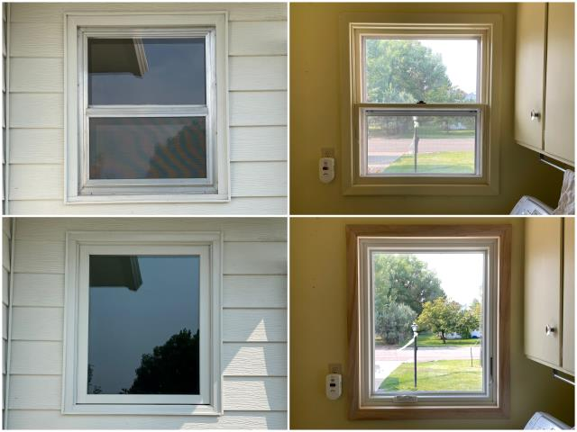 Sheridan, WY - Our team replaced this old double-hung window in Sheridan with our RbA Fibrex® Picture window with a beautiful white exterior trim and real okay interior trim!