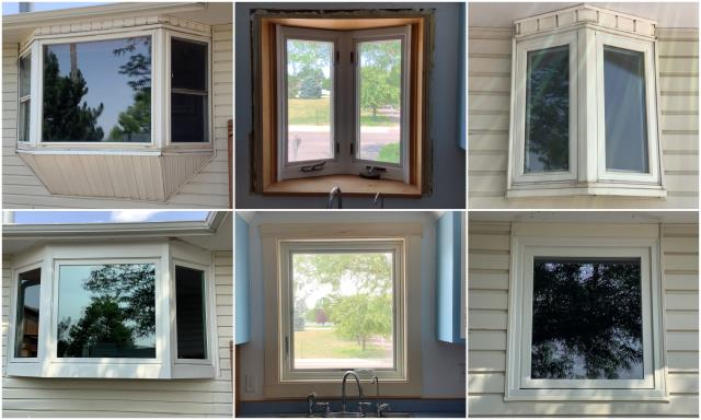 Sidney, NE - We replaced multiple windows here in Sidney. Our team put in our RbA Fibrex® bay window & picture window all finished with a white exterior trim.