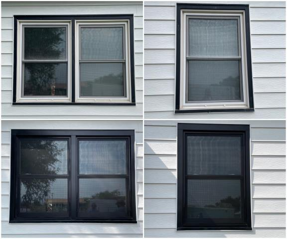 Thermopolis, WY - WOW!!! Our team went to Thermopolis and replaced these old windows with our BEAUTIFUL RbA Fibrex® Gliding Windows with a black exterior trim! Just GORGEOUS!!