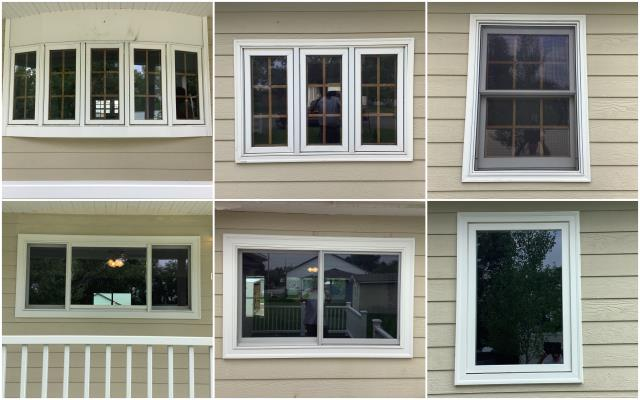 Cody, WY - Our team replaced multiple windows here in Cody! We replaced these windows with our RbA Fibrex® Gliding Triple Window, Gliding Window and Picture Window all finished with a white exterior trim!