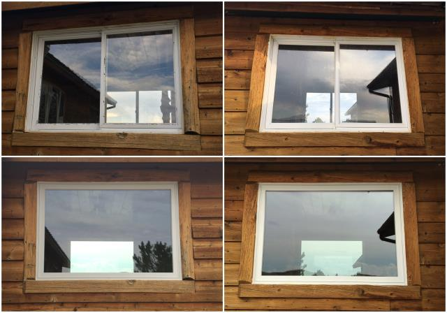Riverton, WY - We replaced these old windows in Riverton with our beautiful RbA Fibrex® Picture windows finished with a white exterior trim!