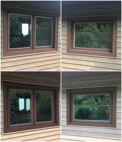 Casper, WY - Our team in Casper replaced this old glider and picture window with our RbA Fibrex® Gliding Window & Picture Window finished with a cocoa bean exterior trim!
