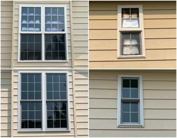 Casper, WY - We replaced these old windows in Casper with our RbA Fibrex® Double-Hung Windows with a white exterior finish.