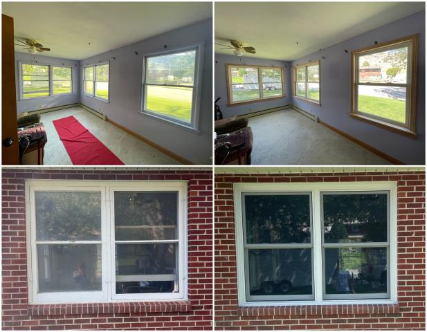 Rawlins, WY - Our team went to Rawlins and replaced these old windows with our RbA Fibrex® Double-Hung Windows.